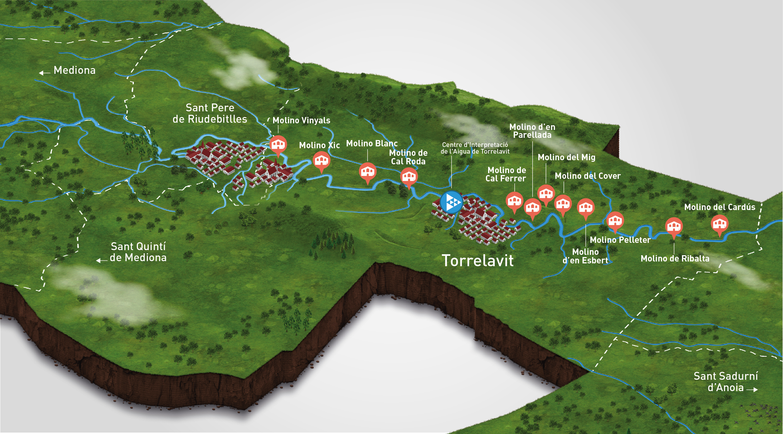 mapa molins torrelavit_molins cast